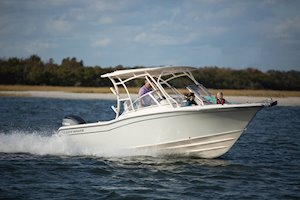 Grady-White Freedom 235 23-foot dual console family cruising boat running