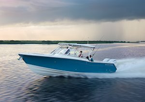 Grady-White Freedom 307 30-foot dual console running port side Seaport Blue